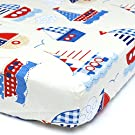 Cuddly Cubs Fitted Crib Sheet for Boys - Soft Nursery Bedding in Nautical / Boats Print - Best Infant Bed Sheets For Baby Shower Gift