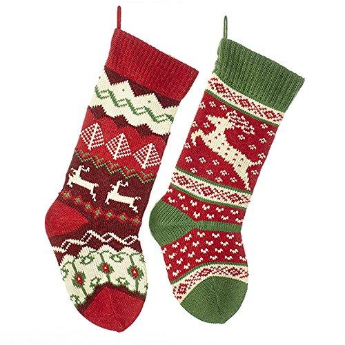 Knit Christmas Stockings (Kurt Adler 20-inch Knit Reindeer Stockings 2)