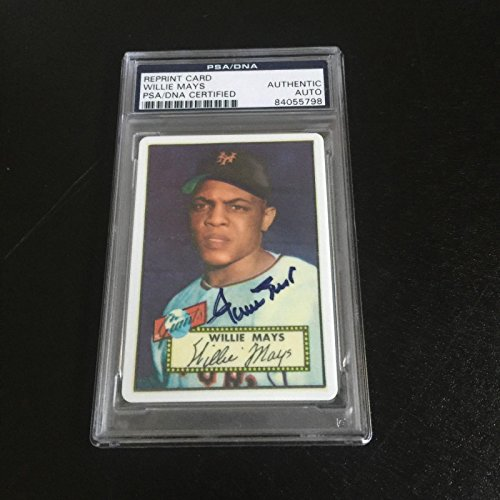 1952 Topps Willie Mays RC Signed Porcelain Baseball Card Rookie PSA DNA ()