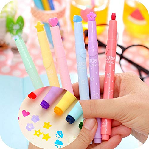 3PCS Stamp Ink Pens Highlighters Cute Pen Stamper Markers Watercolor Pen for Office School Supplies (Multicolor) by paway (Image #4)