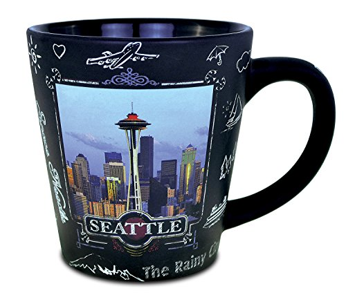 Puzzled Seattle Skyline Blackboard Blackboard Ceramic Latte Mug - Buldings / Famous Sites Theme - Unique Gift and Souvenir - Item #9552