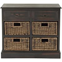 Deco 79 96253 Wood 4 Basket Dresser, 30 x 28