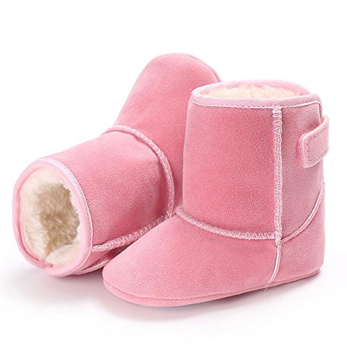 HUHU833 Neugeborene Säuglingsbaby-Mädchen Soft Crib Schuhe Kleinkind Stiefel, Bunt Krippe Schuh, weiche alleinige Anti Rutsch Stiefel 0~18 Month Pink