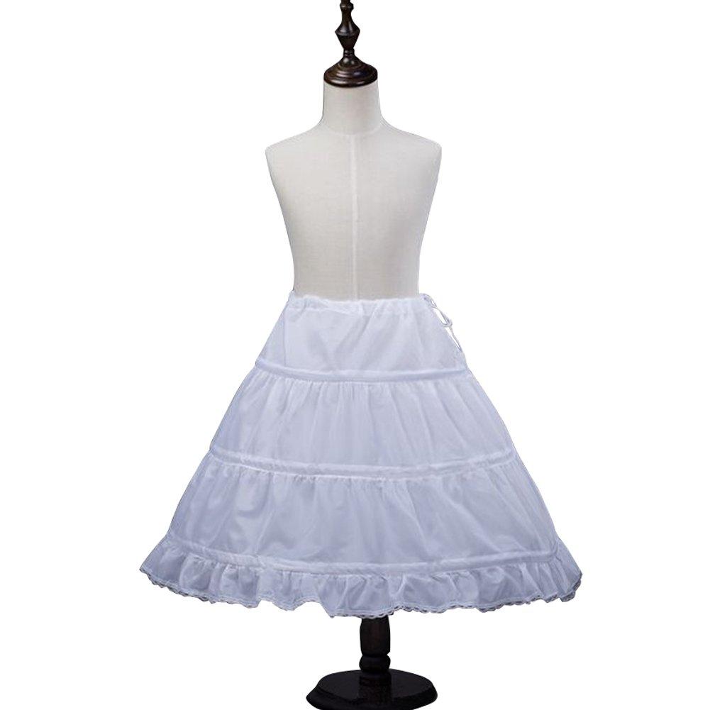 SanJL Girls 3-Hoop Petticoat Slip Flower Girl Crinoline Underskirt