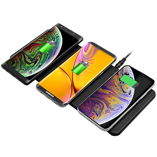 Qi Triple Wireless Charger Station,JE 3 Devices Multi Wireless Charger Pad,Desktop Charging Station for iPhone XS MAX/XR/XS/X/8/8 Plus,Samsung Galaxy...