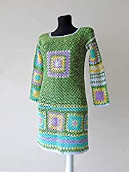 Hand Crochet Granny Square Patchwork Afghan Sweater Dress Long Sleeves Cotton Hippie Gypsy Boho Chic