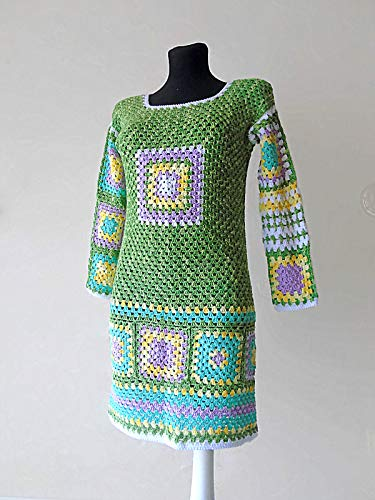 - Hand Crochet Granny Square Patchwork Afghan Sweater Dress Long Sleeves Cotton Hippie Gypsy Boho Chic