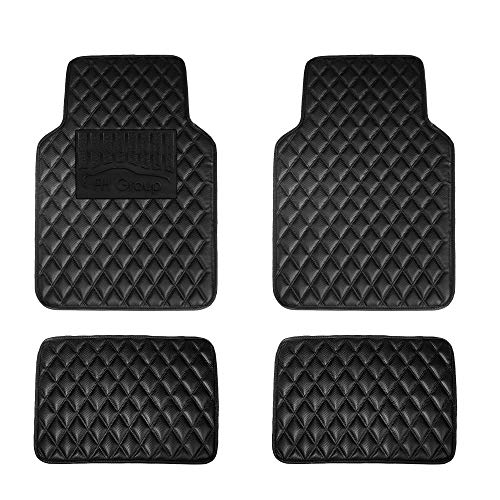 - FH Group F12002 Luxury Universal All-Season Heavy Duty Faux Leather Car Floor Mats Diamond Design w. High Tech 3-D Anti-Skid/Slip Backing, Carbon Black Color