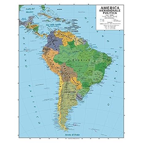 Carta Geografica Murale America Meridionale 100x140 Bifacciale