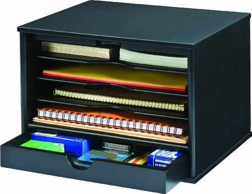 Victor Wood Midnight Black Collection, 4-Shelf Desktop Organizer, Black, (4720-5) by Victor