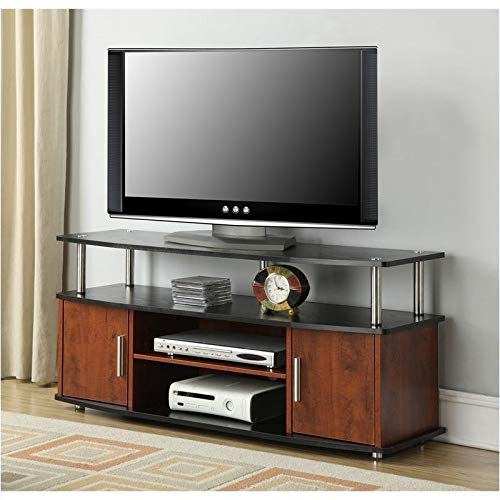 Pemberly Row Monterey 48 TV Stand in Cherry and Black