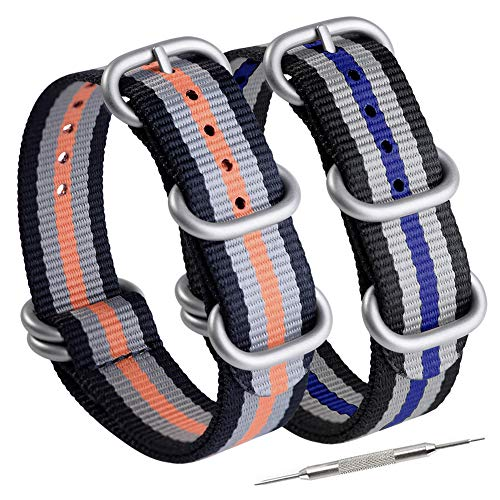 Adebeda NATO Strap 20mm Nylon Watch Bands Replacement Straps with 5 Rings Silver Stainless Steel Buckle Black Orange,Black Blue