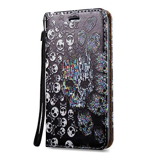 KaseHome 3D Patrón Efecto Samsung Galaxy J3 Prime Wallet Funda,Negro y Blanco Carcasa en Libro PU Leather Cuero Suave Impresión Piel Caso Alta Resistencia,Dura Parachoques,Fuerte Cierre Magnético,Func Cráneo
