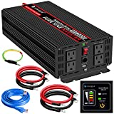 novopal Power Inverter Pure Sine Wave-2000 Watt 12V DC to 110V/120V AC Converter- 4 AC Outlets Car Inverter with One USB Port-5 Meter Remote Control And Two Cooling Fans-Peak Power 4000 Watt