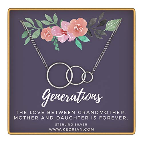 KEDRIAN Generations Necklace, 925 Sterling Silver, Grandmother, Granddaughter, Best Grandma Gifts, Gifts for Grandma Necklace, Grandma Birthday Gifts, for (Best Gifts For Grandmother Grandmas)
