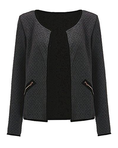 Femmes Confortable Manches Longues Veste Manteau Court Outwear Blousons Avec Zippe Poche Gris