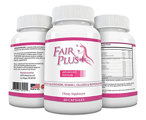 - FairPlus Skin Whitening Pills Advanced Formula for Fair and Beautiful Skin with Glutathione, Vitamin C, Collagen, Green Tea, and Resveratrol (60 Capsules)