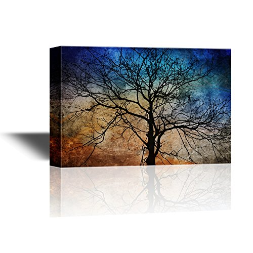 wall26 - Canvas Wall Art - Black Tree Branches on Abstract Colorful Background - Gallery Wrap Modern Home Decor | Ready to Hang - 24x36 inches]()
