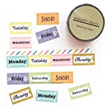 Green Flash Japanese Washi Masking Paper Tape Set of 2/Days of The Week/Clips/Frames/Pictograms/Numbers (Days of Week [ GFO-045 ])