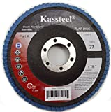 Kassteel 67328 High Density Blue Zirconia Type T27 80 Grit Jumbo Flap Discs, 7'' x 7/8''