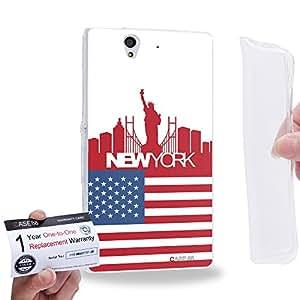 Case88 [Sony Xperia Z] Gel TPU Carcasa/Funda & Tarjeta de garantía - Art Design Drawing New York Flag Skyline Art2629