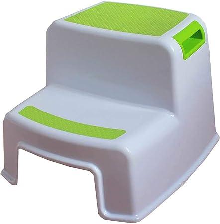 AYLS Niños Taburete de plástico baño Lavabo reposapiés bebé pequeño Banco Cuarto de baño Antideslizante Paso Escalera niños Paso Taburete,Green: Amazon.es: Hogar