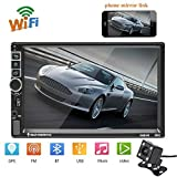 "Hikity Double Din Android 8802 Car Navigation Stereo 7"" MP5 Touch Screen Bluetooth USB FM Auto Radio Mobile Phone Mirror Link + 4 LED Backup Camera"