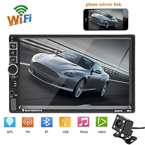 Hikity Double Din Android 8802 Car Navigation Stereo 7' MP5 Touch Screen Bluetooth USB FM Auto Radio Mobile Phone Mirror Link + 4 LED Backup Camera