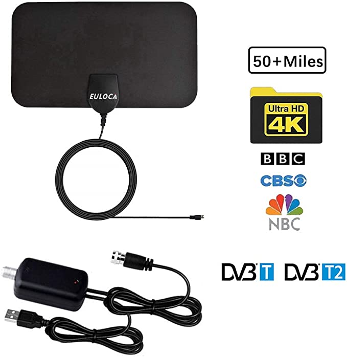Antena de TV para interiores de largo alcance de 50 millas amplificada HD Digital TV señal aérea Booster versión mejorada con cable coaxial de 16,4 m ...