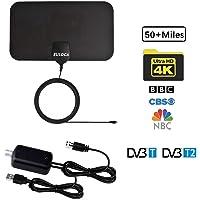 Antenne TNT HD Antenne TV Intérieur Puissante, EULOCA 60+ Miles/95KM Amplificateur de Signal à Longue portée, Soutien 4K 1080P VHF UHF FM, Câble Coaxial 12.5 FT, Conception Mince et Douce