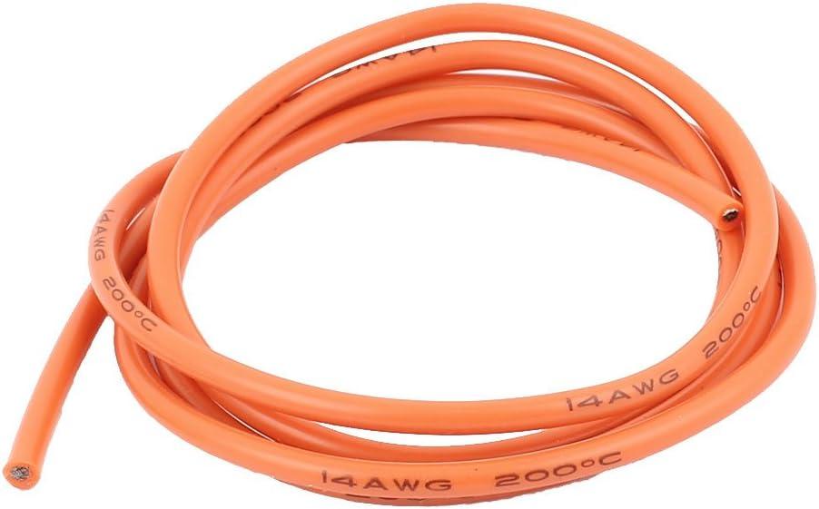 Aexit 1M 14AWG Cable de alambre de silicona flexible con núcleo de (model: G2593VIX-7892HL) cobre eléctrico, naranja
