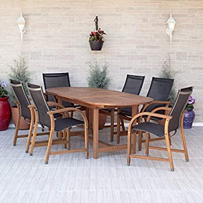 Amazonia Bahamas 7-Piece Oval Patio Dining Set | Eucalyptus Wood | Ideal for Outdoors and Indoors, Black - 1 Oval extendable Table 63-83wx36dx29h 6 armchairs 22wx23dx37h High Quality FSC Eucalyptus Wood (Eucalyptus Grandis) Wood color: Brown. Chair Sling: Black - patio-furniture, dining-sets-patio-funiture, patio - 51NH8ZC9uiL. SS400  -