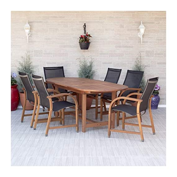 Amazonia Bahamas 7-Piece Oval Patio Dining Set | Eucalyptus Wood | Ideal for Outdoors and Indoors, Black - 1 Oval extendable Table 63-83wx36dx29h 6 armchairs 22wx23dx37h High Quality FSC Eucalyptus Wood (Eucalyptus Grandis) Wood color: Brown. Chair Sling: Black - patio-furniture, dining-sets-patio-funiture, patio - 51NH8ZC9uiL. SS570  -