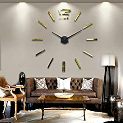 NEW 3D Large Wall Clock Rushed Mirror Sticker Diy Living Room Decor Fashion Watches Quartz Clocks Wall G number B dial L003