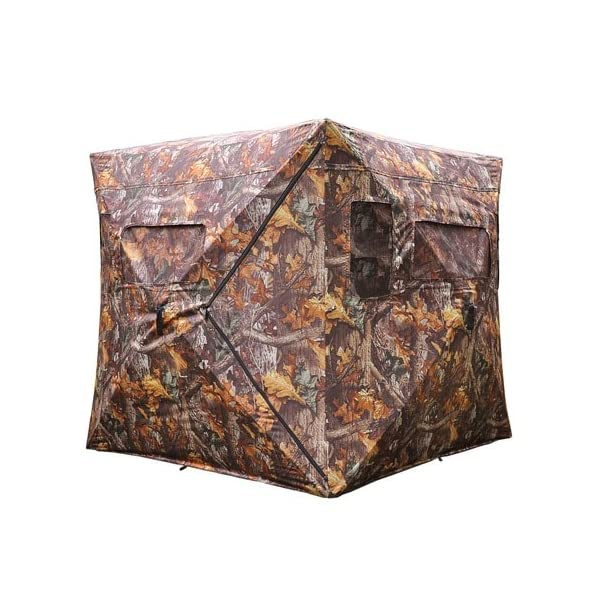 Durable-Poly-Fabric-XL-Pop-Up-Ground-Hunting-Blind-Wood-Leaf-Camo-Hub-Style-Tent-w-Zipper-Roof-Door-Windows-for-Professional-Wild-Life-Fowl-Game-Hunt-Camping