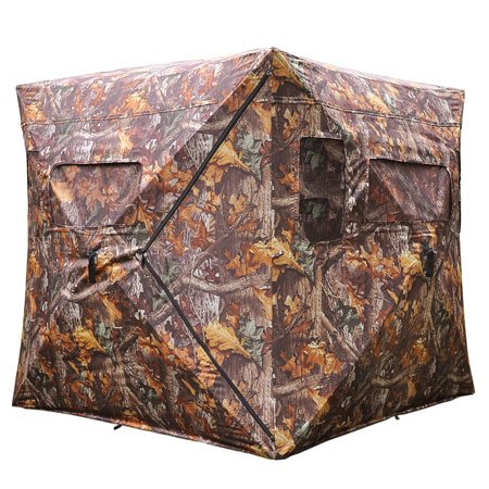 (Durable Poly Fabric XL Pop Up Ground Hunting Blind Wood Leaf Camo Hub Style Tent w/ Zipper Roof Door Windows for Professional Wild Life Fowl Game Hunt Camping)