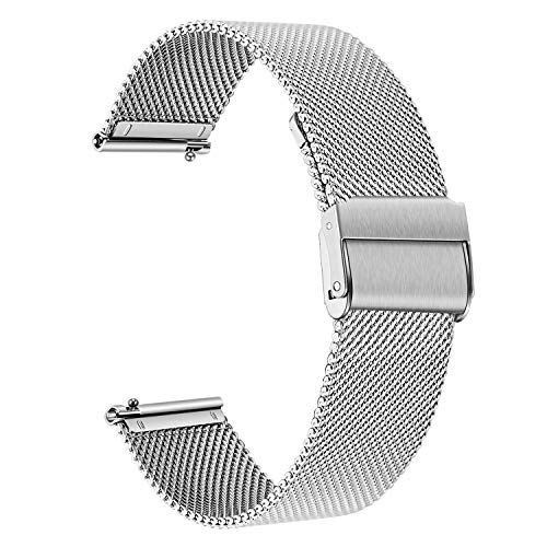 for Samsung Galaxy Watch 42mm / Active 40mm Bands, TRUMiRR 20mm Mesh Woven Stainless Steel Watchband Quick Release Strap Bracelet for Garmin Vivoactive 3/3 Music, TicWatch E (Garmin 205 Replacement Band)