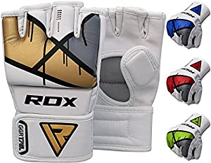 RDX MMA Gloves Grappling Martial Arts Punching Bag Maya Hide Leather Mitts Sparring Cage Fighting UFC Combat Training