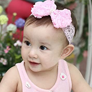Clothing, Shoes & Accessories Kids Pink Lace Bow Headband