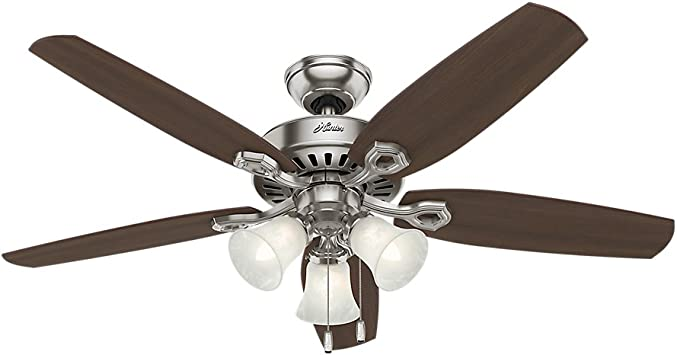 Hunter 53237 Builder Plus Indoor Ceiling Fan With Led Lights And Pull Chain Control 52 Brushed Nickel Amazon Com