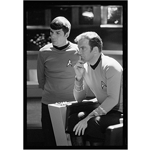 Bridge Enterprise Command - Star Trek William Shatner as Kirk Seated on the Bridge with Leonard Nimoy as Spock 8 x 10 Inch Photo