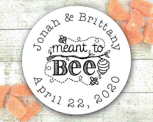 Honey Labels for Wedding, Shower, or Party Favors - 20 Personalized stickers - Meant to Bee