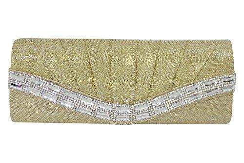 Fancy Rhinstone Pleated Shimmering Weddding Crystal Clutch Elegant Evening Party Bag (Omaha Bridal Shops)