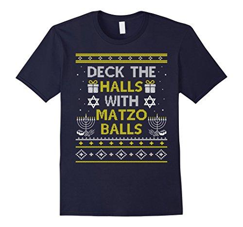 Mens Deck The Halls With Matzo Balls T-shirt Hannukah Gifts XL Navy
