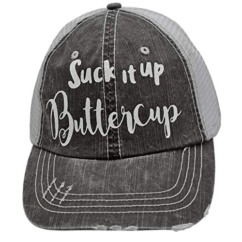 R2N fashions Women's Baseball caps Suck it up Buttercup Trucker Style hat Cap Black/Grey