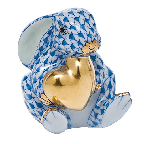 Herend Bunny Figurines (Herend Bunny with Heart Figurine Blue Fishnet)