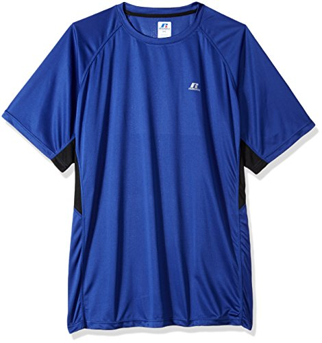 Russell Athletic Mens Big and Tall Ss Poly Crew Weave with Contrast Insert