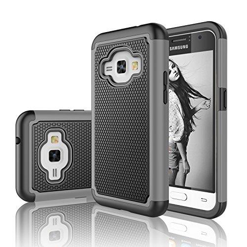 Njjex Galaxy Luna Case, For Galaxy Amp 2/Express 3/J1 2016 Case, [Nveins] Shock Absorbing Hybrid Dual Layer Defender Rugged Case For Samsung Galaxy Luna/Amp 2/Express 3/J1 2016 [Grey] ()