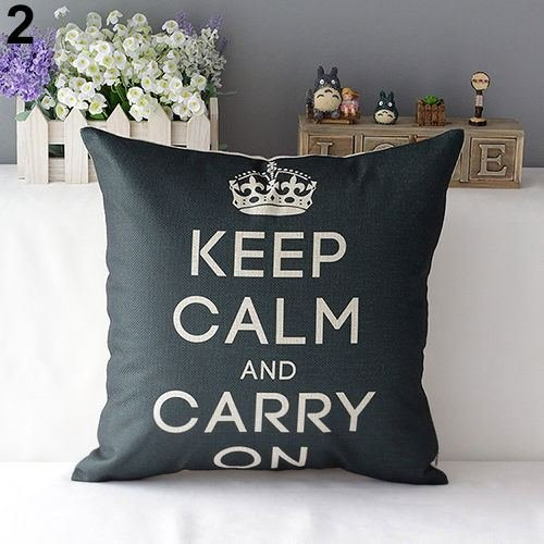 43cm Square Pillow Cushion Cover Letter Print Linen Pillowcase (Pattern 3) - 3