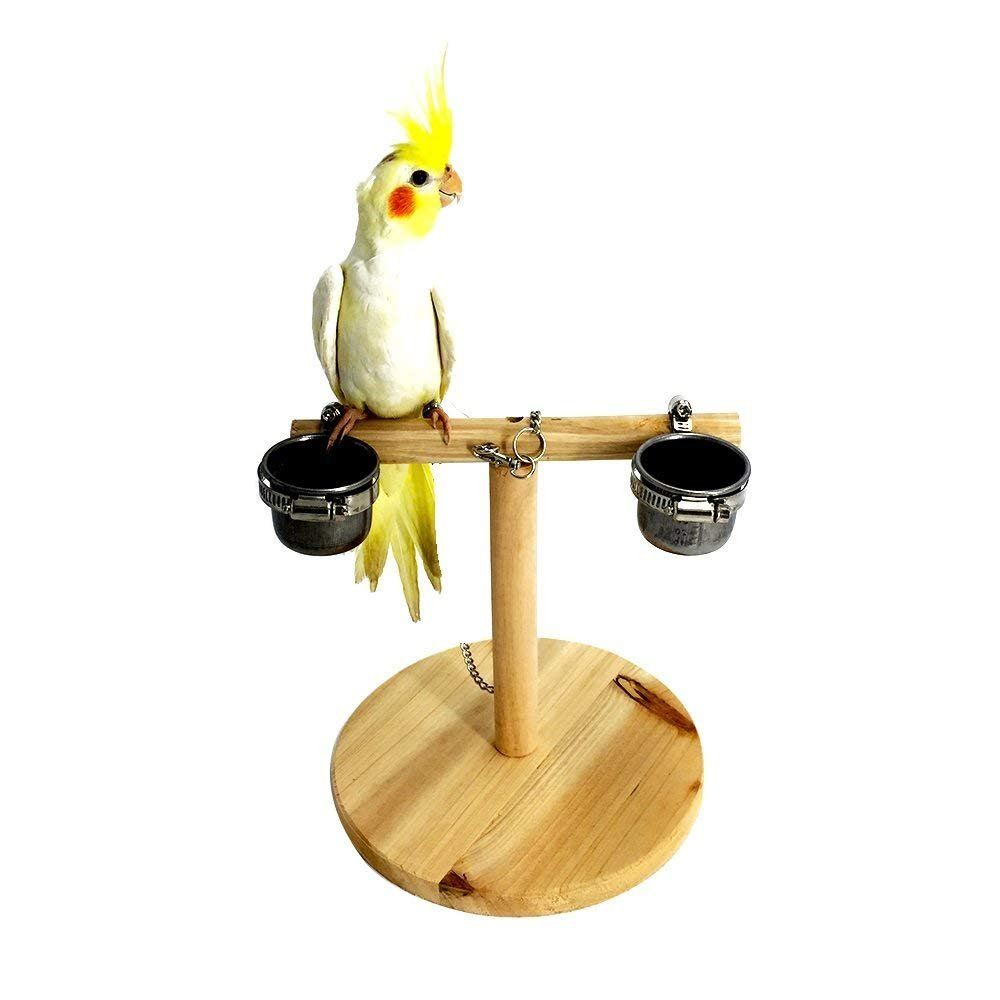 Hypeety Bird Perch Wood Training Stand Parred Wooden Platform Stand Birdcage Play Gym for Parakeet Conure Cockatiel Cage Accessories Exercise Toy (Design 3(2 Cups))